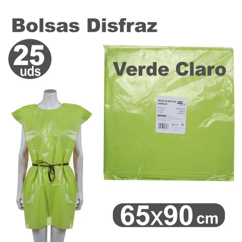 BOLSA DISFRAZ 65X90 VERDE CLARO, PACK 25U.