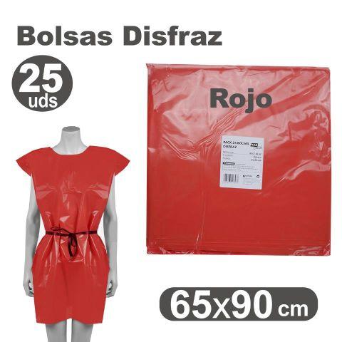 BOLSA DISFRAZ 65X90 ROJO, PACK 25U.