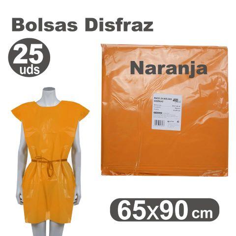 BOLSA DISFRAZ 65X90 NARANJA, PACK 25U.