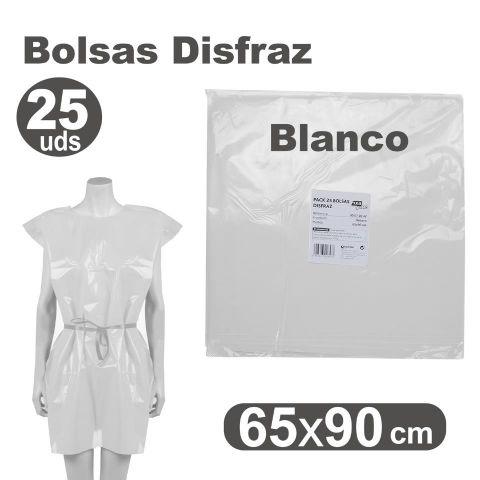 BOLSA DISFRAZ 65X90 BLANCO, PACK 25U.