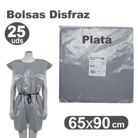 BOLSA DISFRAZ 65X90 PLATA, PACK 25U.