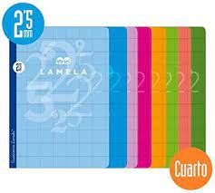 LIBRETA LAMELA 4º 50H. C/2,5mm.  SURTIDAS
