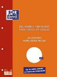 RECAMBIO A4 LISO 100H. 4 T. OXFORD