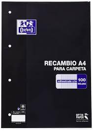 RECAMBIO A4 MM. 100H. 4 T. OXFORD